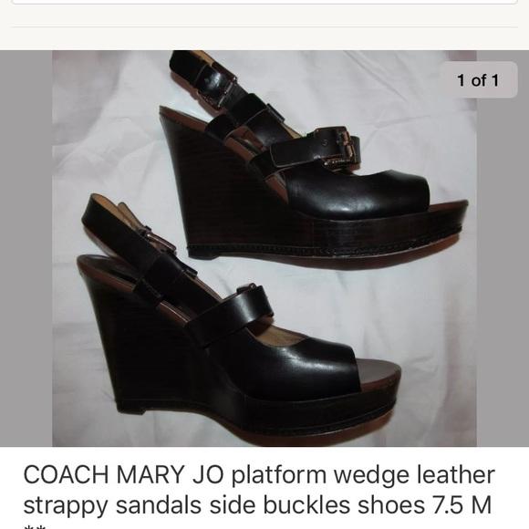 8d3fa6e769 Coach Shoes   Mary Jo Wedge Peep Toe Slingback 75   Poshmark
